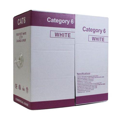 CABLE UTP CAT6 1000F/Pull box, ETL certified, full copper, color - White